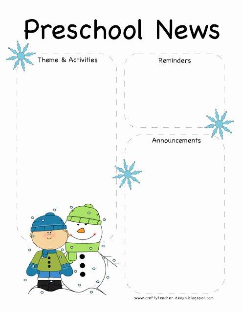 Winter Newsletter Template Free Inspirational Preschool Winter Newsletter Template