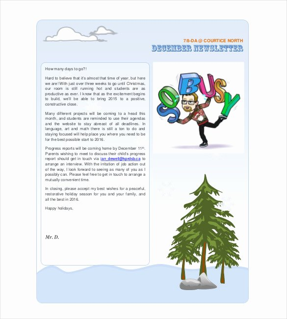 Winter Newsletter Template Free Luxury 14 Holiday Newsletter Template – Free Sample Example