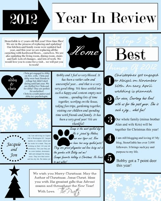 Winter Newsletter Template Free New A Year In Review Christmas Letter and Template Stonegable