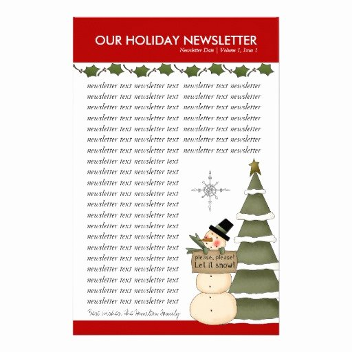 Winter Newsletter Template Free New Christmas or Holiday Family Newsletter Template Stationery