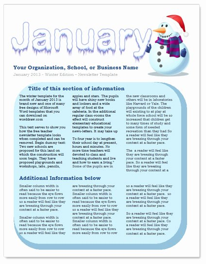 Winter Newsletter Template Free New January Newsletter Template by Worddraw