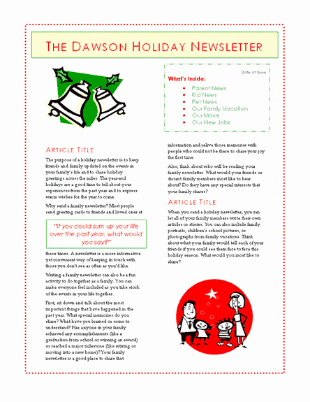 Winter Newsletter Template Free Unique Family Holiday Newsletter 6 Pages Fice Templates