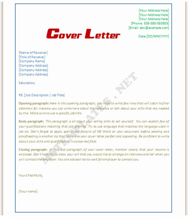 Word Doc Cover Letter Template Beautiful Cover Letter Template Word Doc