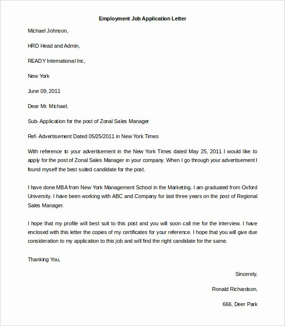 Word Doc Cover Letter Template Elegant 11 Free Employment Letter Template Doc Pdf