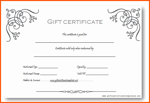 Word Template Gift Certificate Inspirational Gift Certificate Template Word