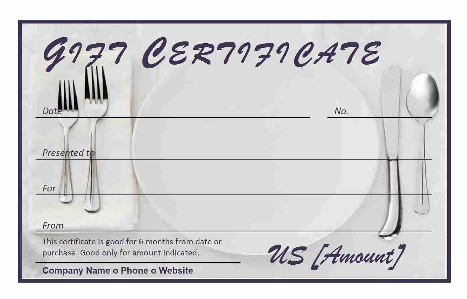 Word Template Gift Certificate Inspirational Restaurant Gift Certificate