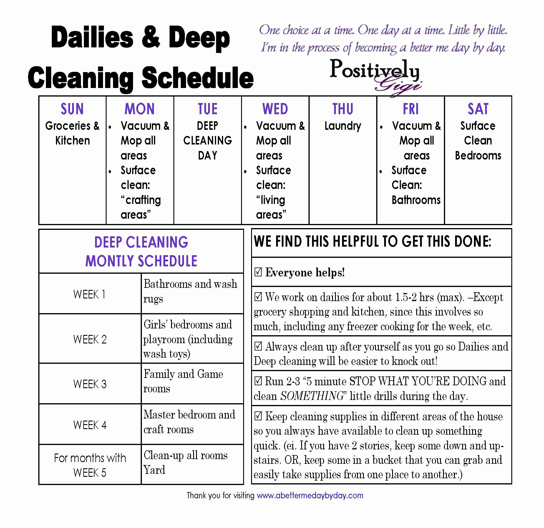 Work Cleaning Schedule Template Awesome Parenting Girls A Better Me Day by Day
