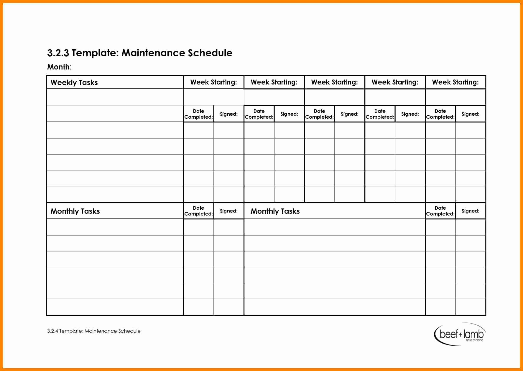 Work Cleaning Schedule Template Elegant 28 Of Maintenance Schedule Template