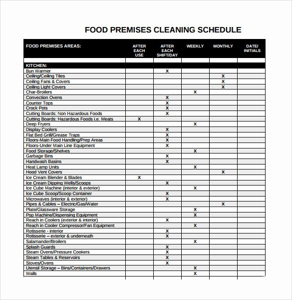 Work Cleaning Schedule Template Fresh 9 Cleaning Schedule Samples
