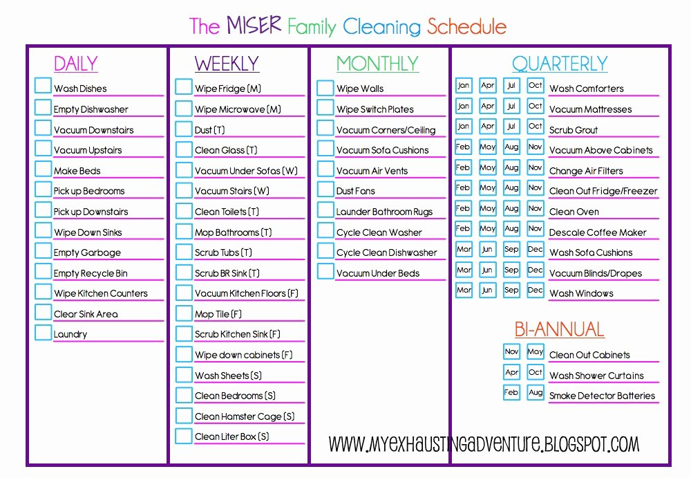 Work Cleaning Schedule Template Fresh Julie S Exhausting Adventure Cleaning Checklist