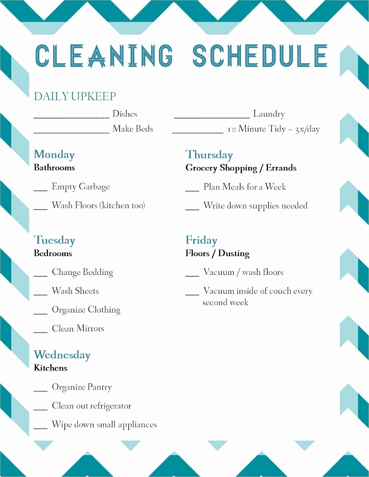 Work Cleaning Schedule Template Inspirational Laura thoughts Housekeeping