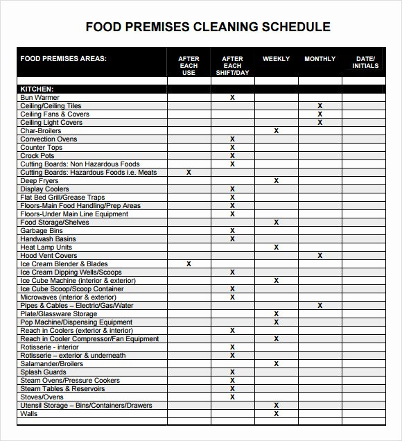 Work Cleaning Schedule Template Unique 5 Sample Cleaning Schedules