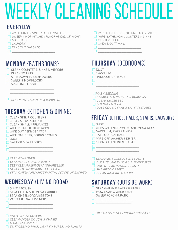 Work Cleaning Schedule Template Unique 7 the Best Free Printable Cleaning Schedules
