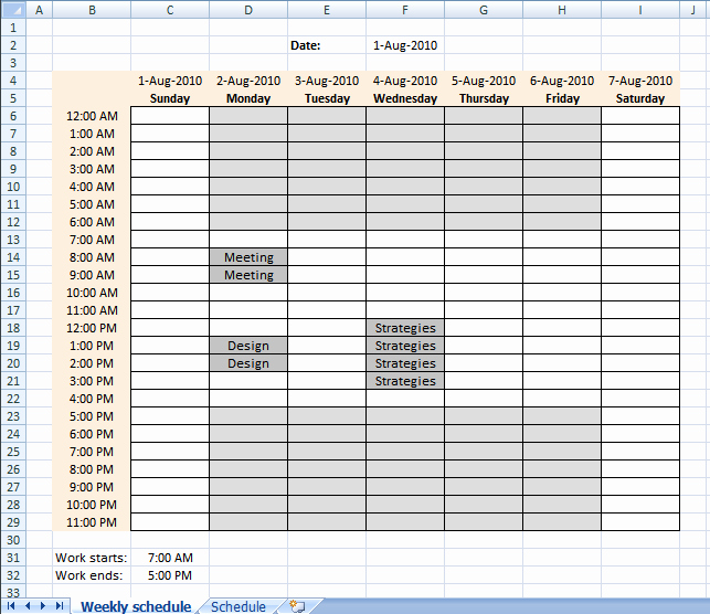 Work Hour Schedule Template Inspirational Setting Up Your Work Hours In A Weekly Schedule