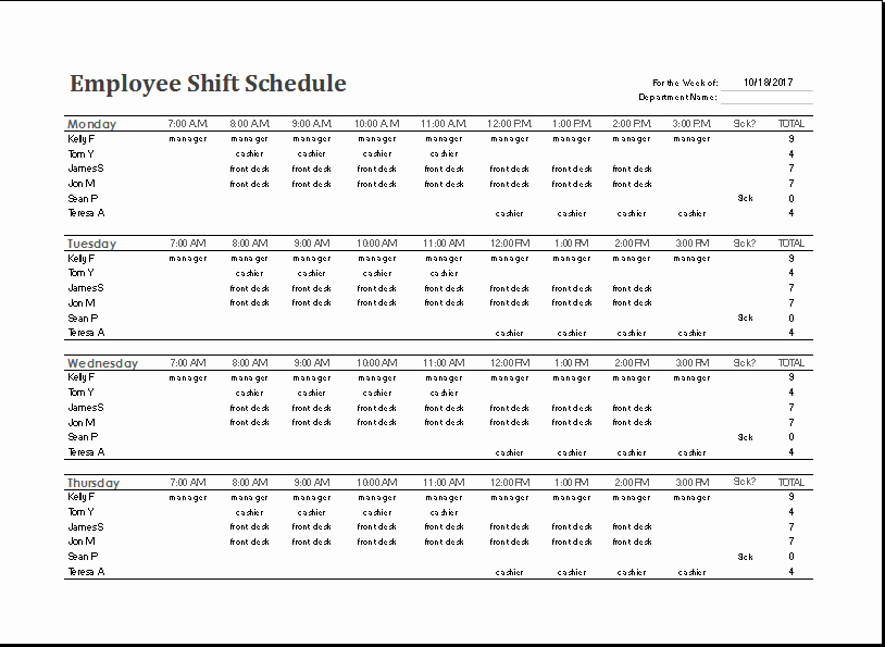 Work Hour Schedule Template Unique Ms Excel Employee Shift Schedule Template