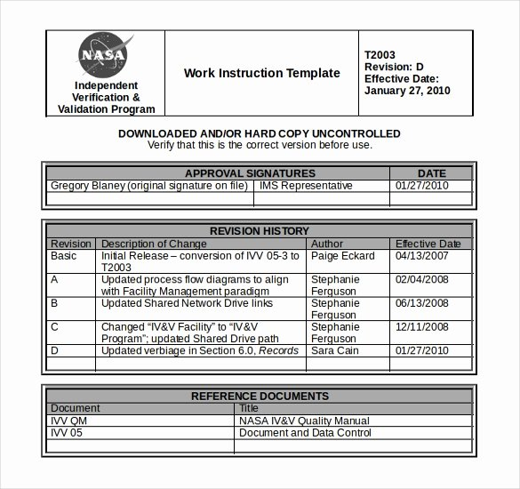 Work Instruction Template Excel Luxury 10 Free Instruction Templates Ms Word format Download