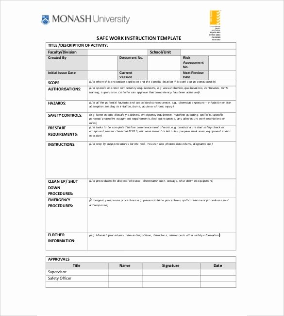 Work Instruction Template Excel Luxury Work Instruction Template