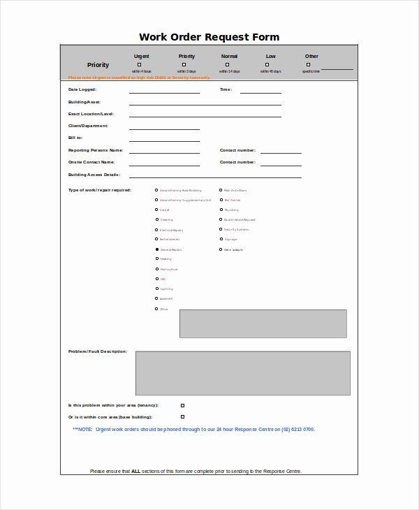 Work order form Template Beautiful Excel Work order Template 13 Free Excel Document