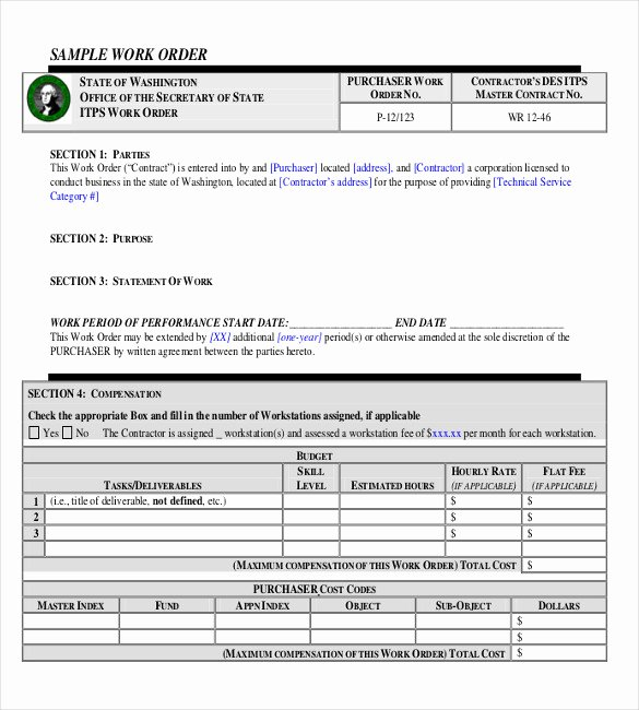 Work order form Template Elegant 23 Work order Templates Pdf Doc