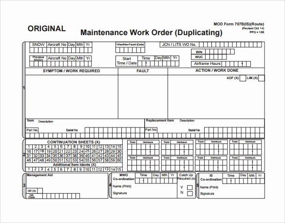 Work order form Template Elegant 8 Sample Maintenance Work order forms