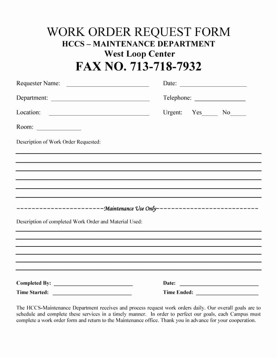 Work order form Template Luxury 40 order form Templates [work order Change order More]