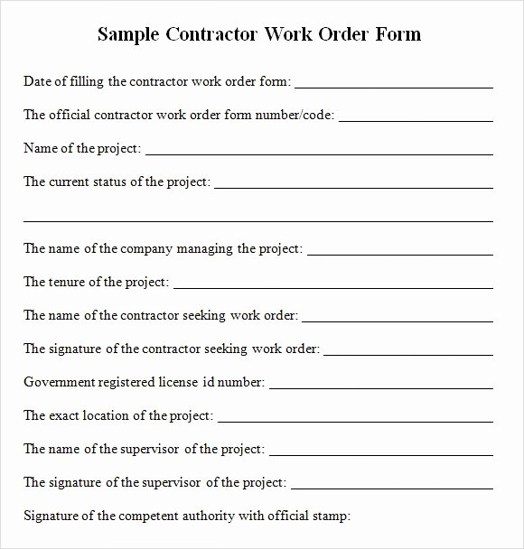 Work order form Template New Sample Contractor Work order forms