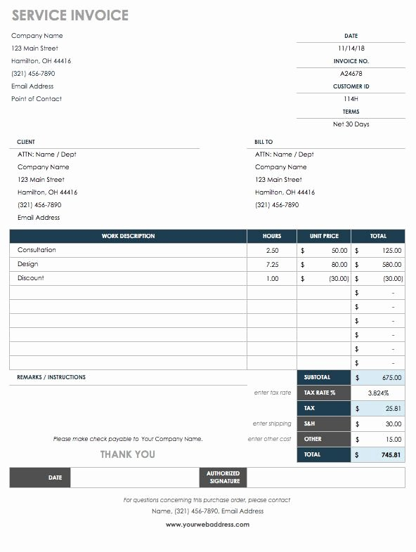 Work order Invoice Template Awesome 15 Free Work order Templates