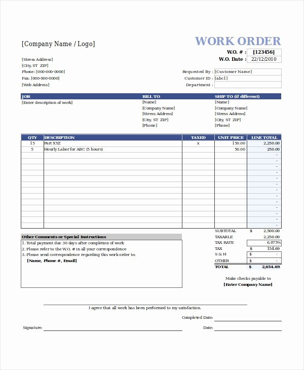 Work order Invoice Template Awesome Work order Invoice Template Free – Emilys Welt