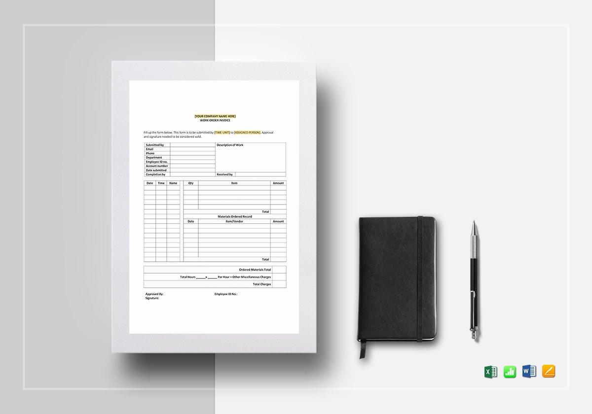 Work order Invoice Template Elegant Work order Invoice Template In Word Excel Google Docs
