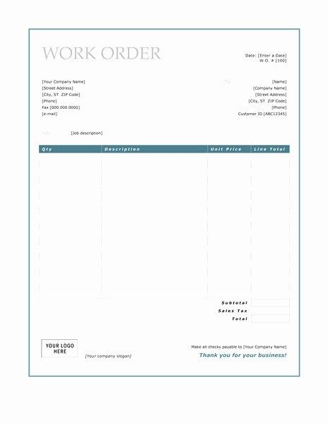 Work order Invoice Template New Work order Invoice Template – Amandae