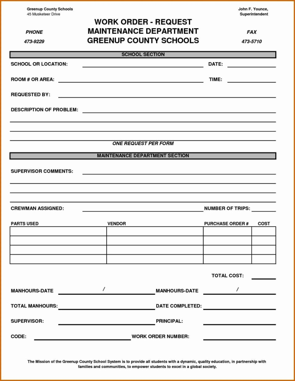 Work order Template Excel Elegant Maintenance Work order form Template Sampletemplatess