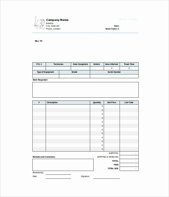Work order Template Excel Elegant Work order Template 23 Free Word Excel Pdf Document