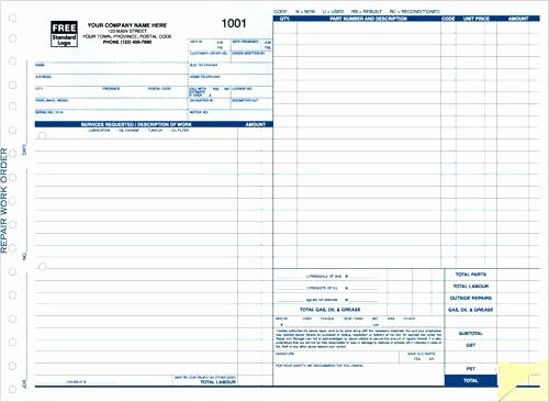 Work order Template Excel Fresh Blank Auto Repair Invoice Automotive Work order Template