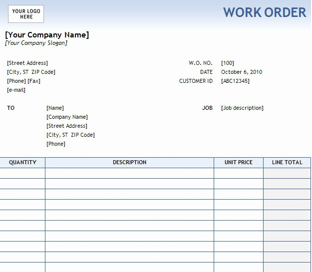 Work order Template Excel Inspirational Work order form