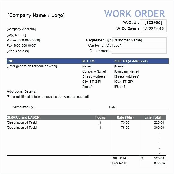 Work order Template Excel Lovely Work order Excel Template – Skincense