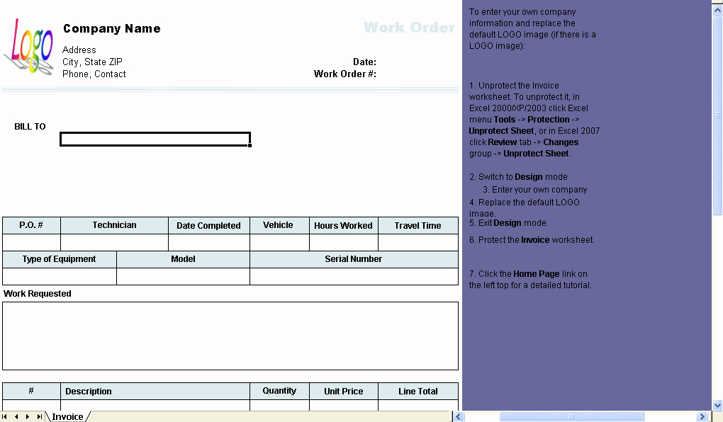 Work order Template Excel Luxury Work order Template Uniform Invoice software