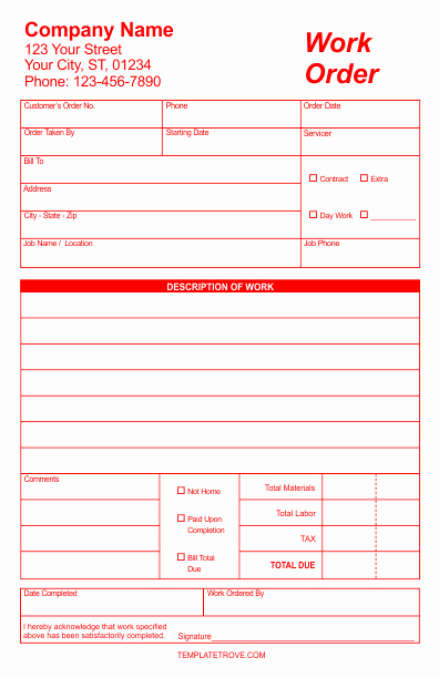 Work order Template Free Beautiful Work order forms