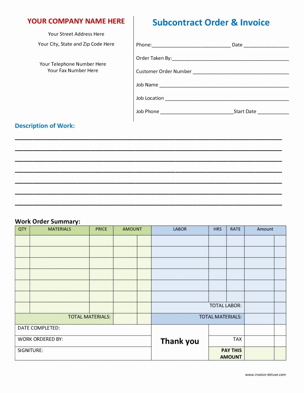 Work order Template Free Fresh order Invoice Template