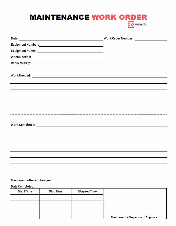 Work order Template Free Luxury Work order