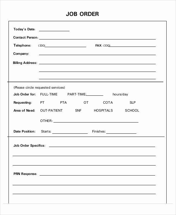 Work order Template Free New 11 Job order Templates Free Sample Example format