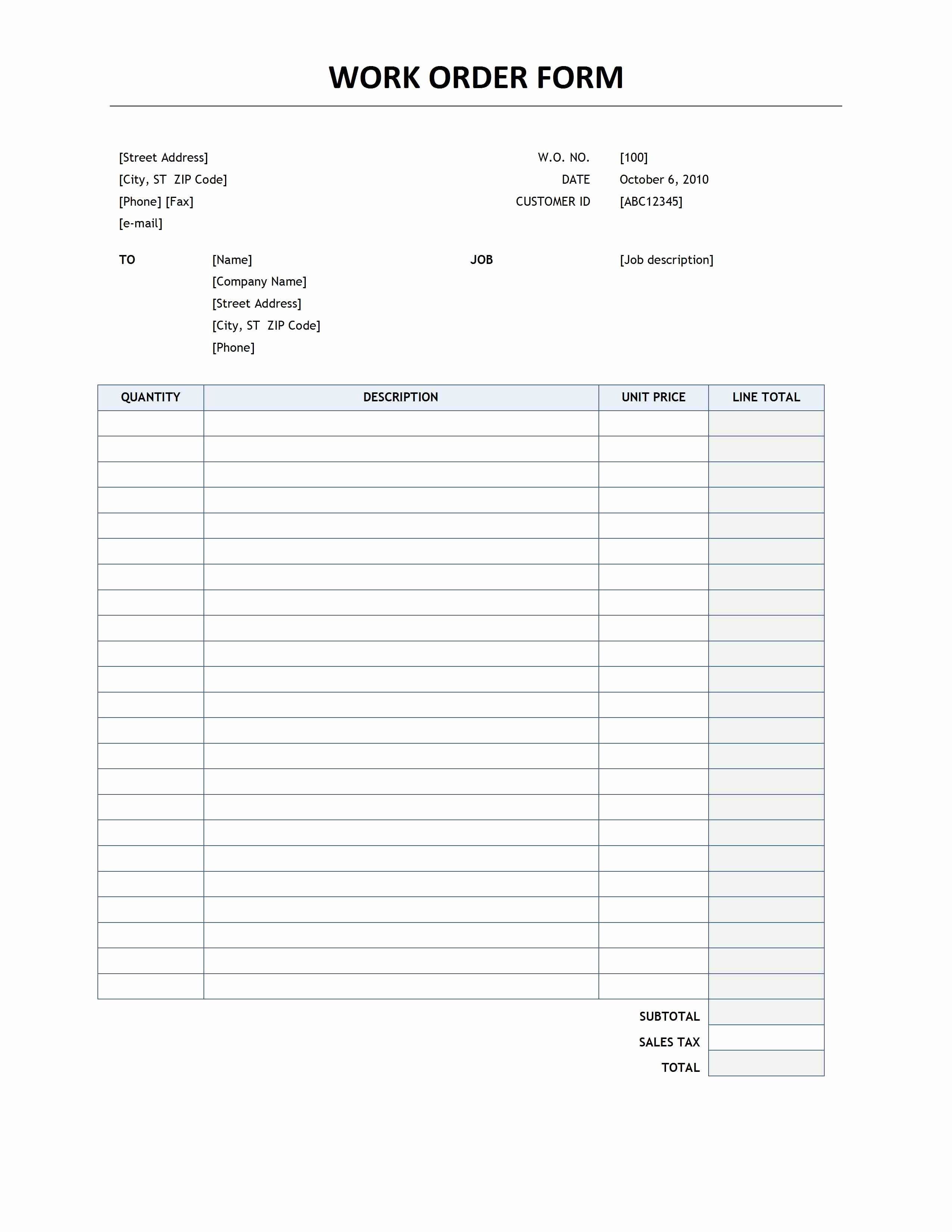 Work order Template Free Unique Work order form Template