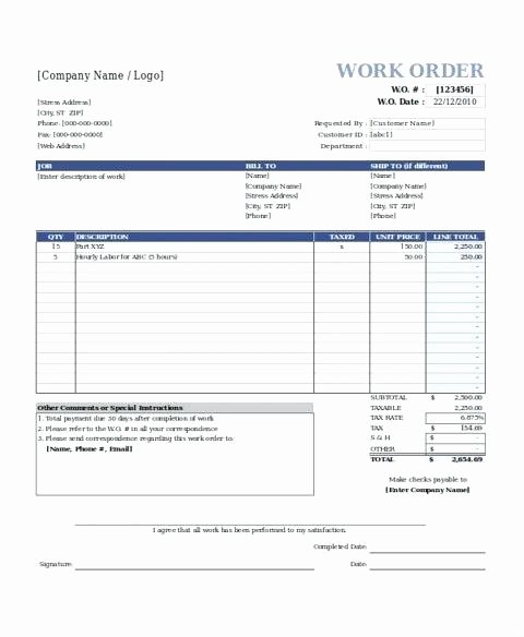 Work order Template Microsoft Word Best Of Work Request Template Work Request Template Automotive