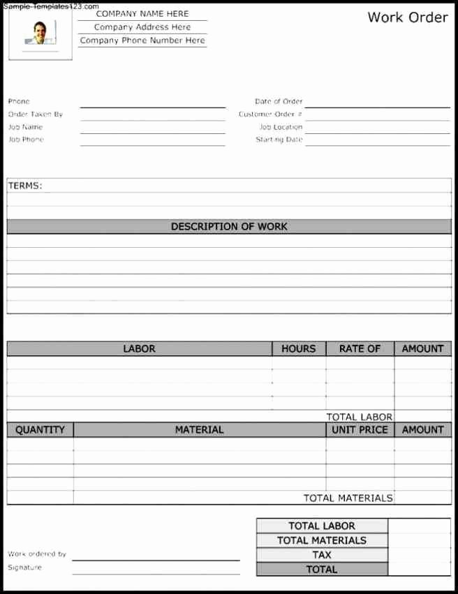 Work order Template Microsoft Word Unique order form Template Word Purchase order Template Itinerary