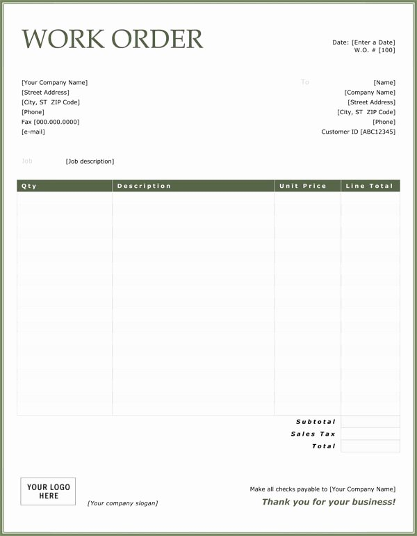 Work order Template Pdf Elegant Work order Sample