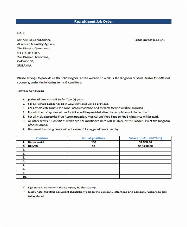 Work order Template Pdf Fresh Job order Templates 7 Free Pdf format Download