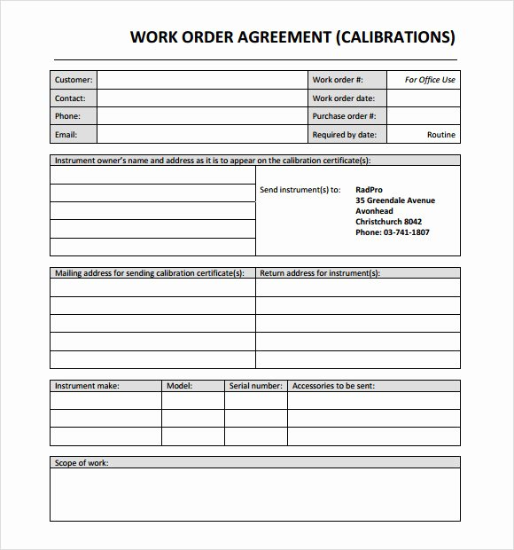 Work order Template Pdf Inspirational 14 Work order Samples – Pdf Word Excel Apple Pages