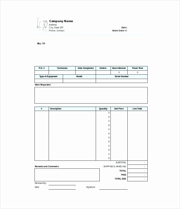 Work order Template Word Beautiful Work order Template Free Word Excel Document Download