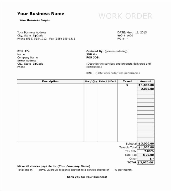 Work order Template Word Unique Work order Template 13 Free Word Excel Pdf Document