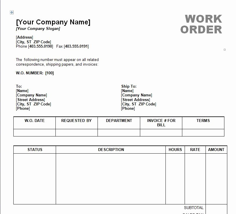 Work order Template Word Unique Work order Template Word
