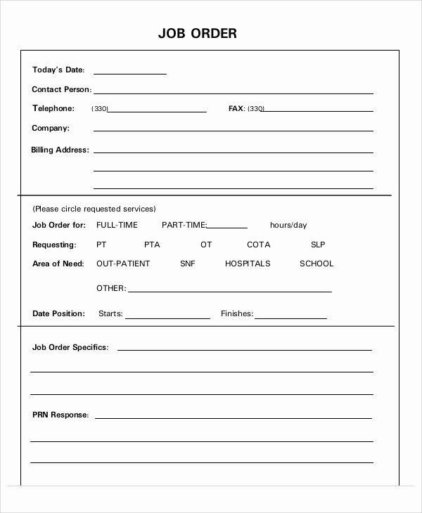 Work orders Template Free Elegant 11 Job order Templates Free Sample Example format